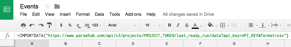use the IMPORTDATA() function in Google Sheets to scrape