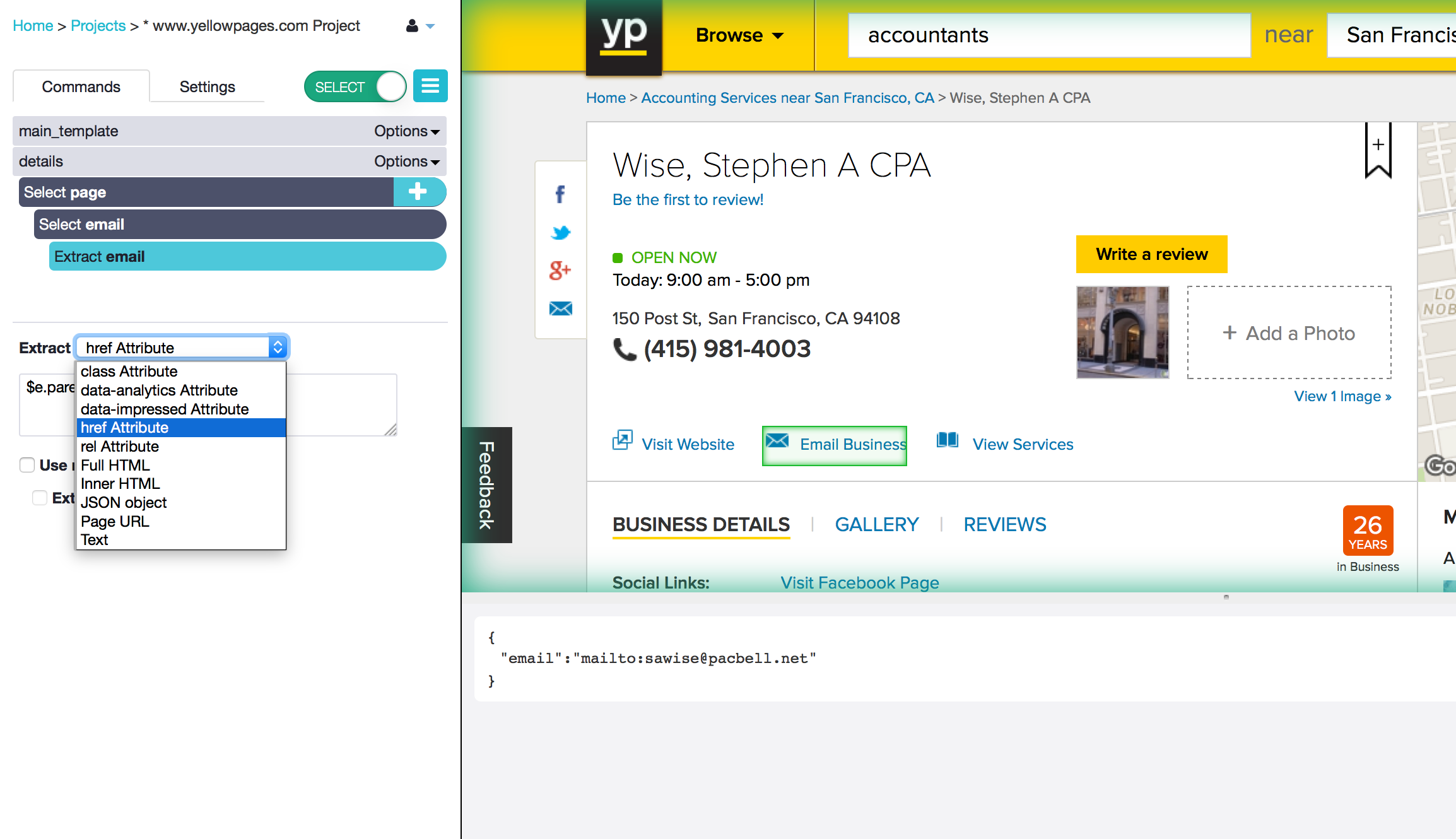 navigate to the profile pages of each business on yellowpages