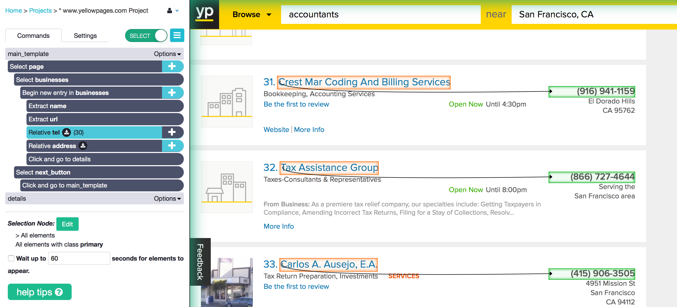 scrape contact information from yellowpages