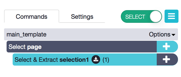 toggle between select and browse mode