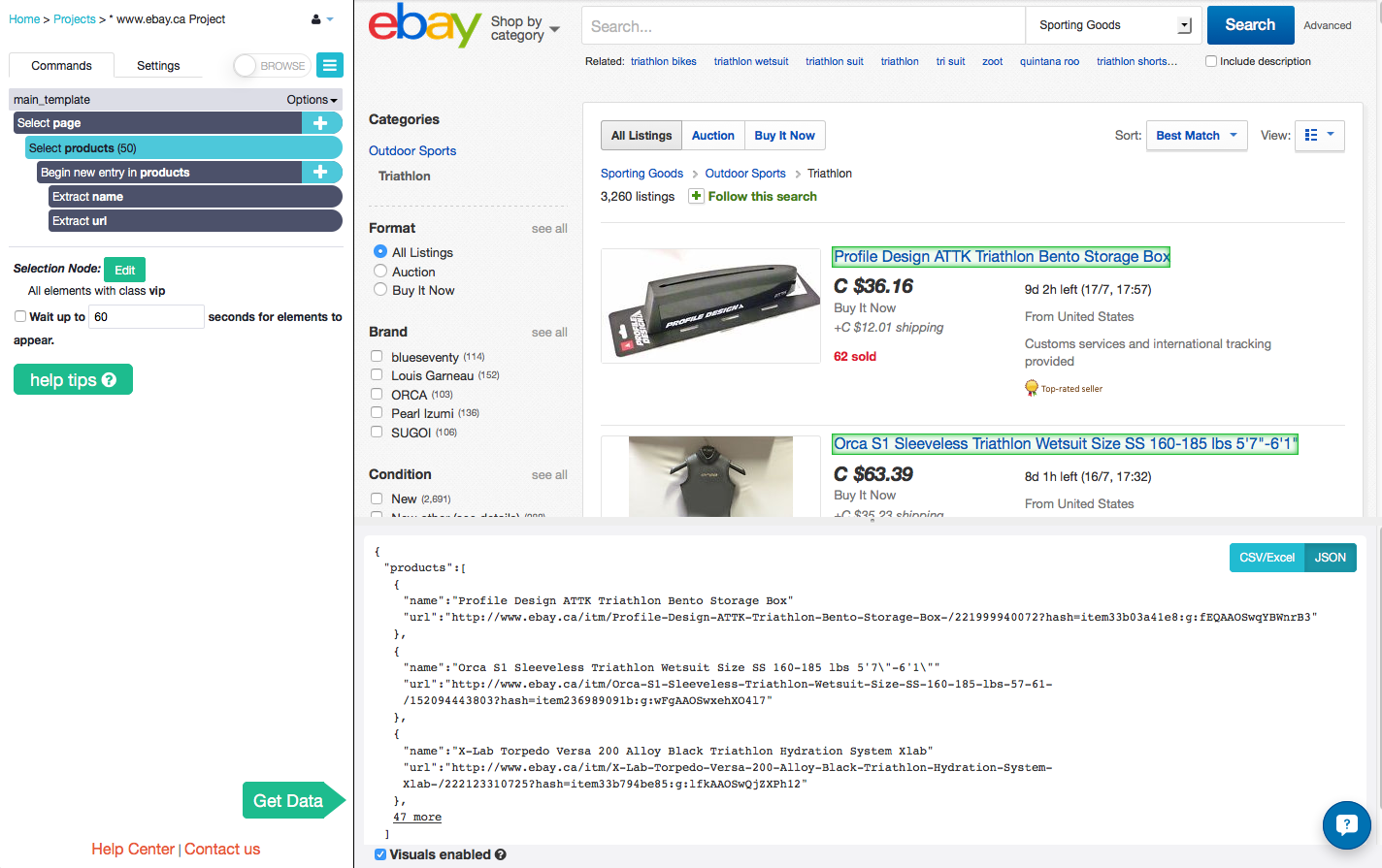 search through keywords on eBay with web scraping