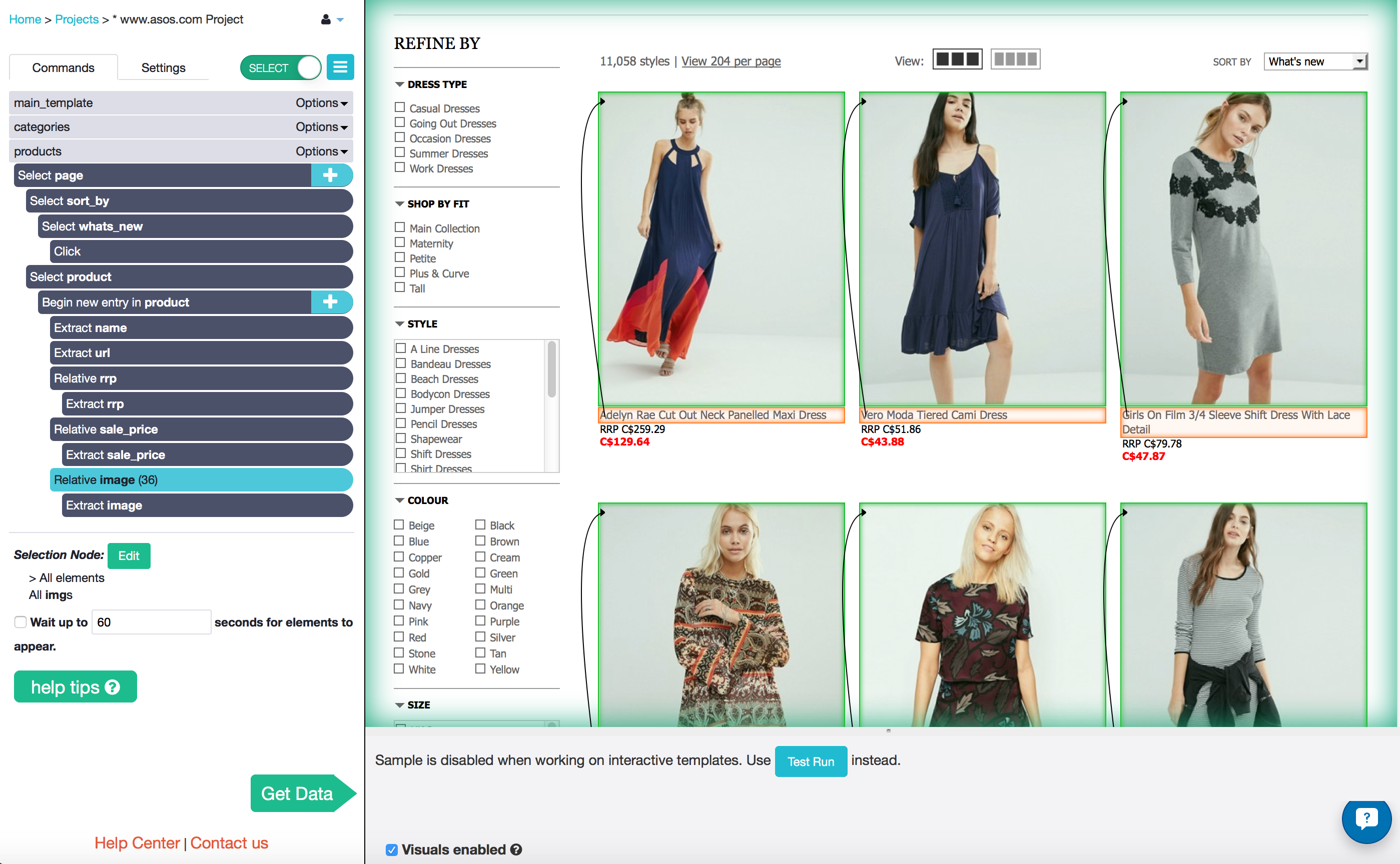 selecting item images from asos with ParseHub