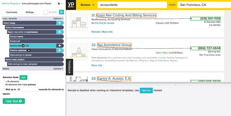 How to Scrape the Yellow Pages website for Contact Info