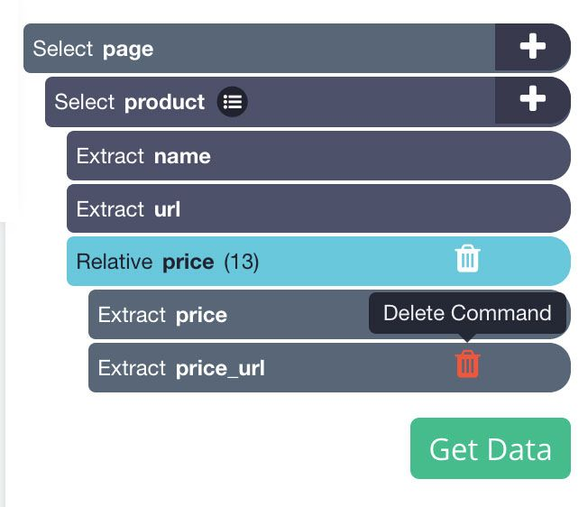 Deleting the extracted URL from price selection