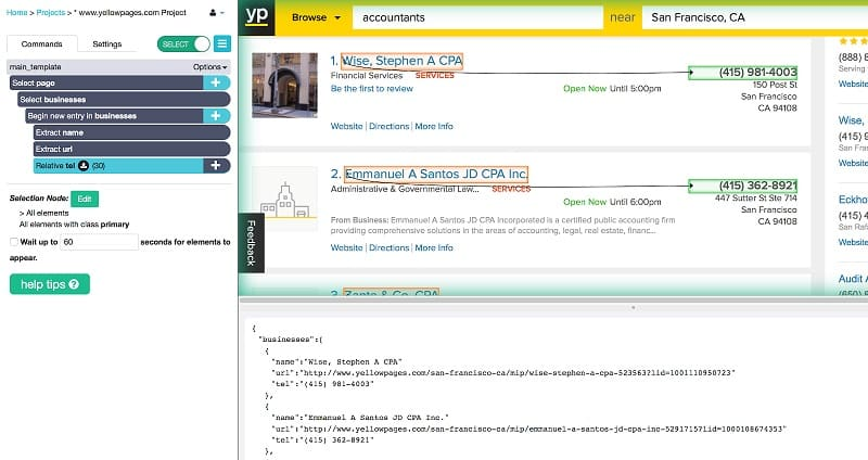 How to Scrape the Yellow Pages website for Contact Info | ParseHub