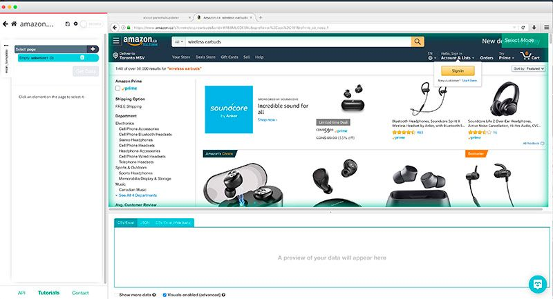 Using ParseHub to scrape and download images on any site, using amazon for example