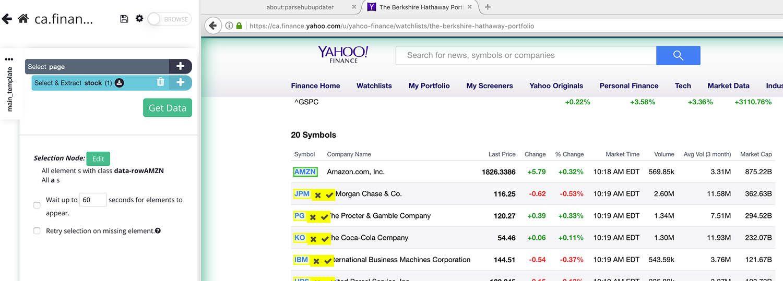 Selecting stock symbol on yahoo finance