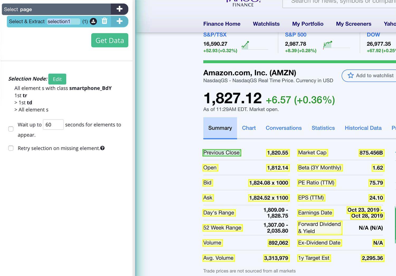 Selecting Stock data on yahoo finance