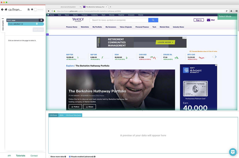 Yahoo finance rendering inside of parsehub