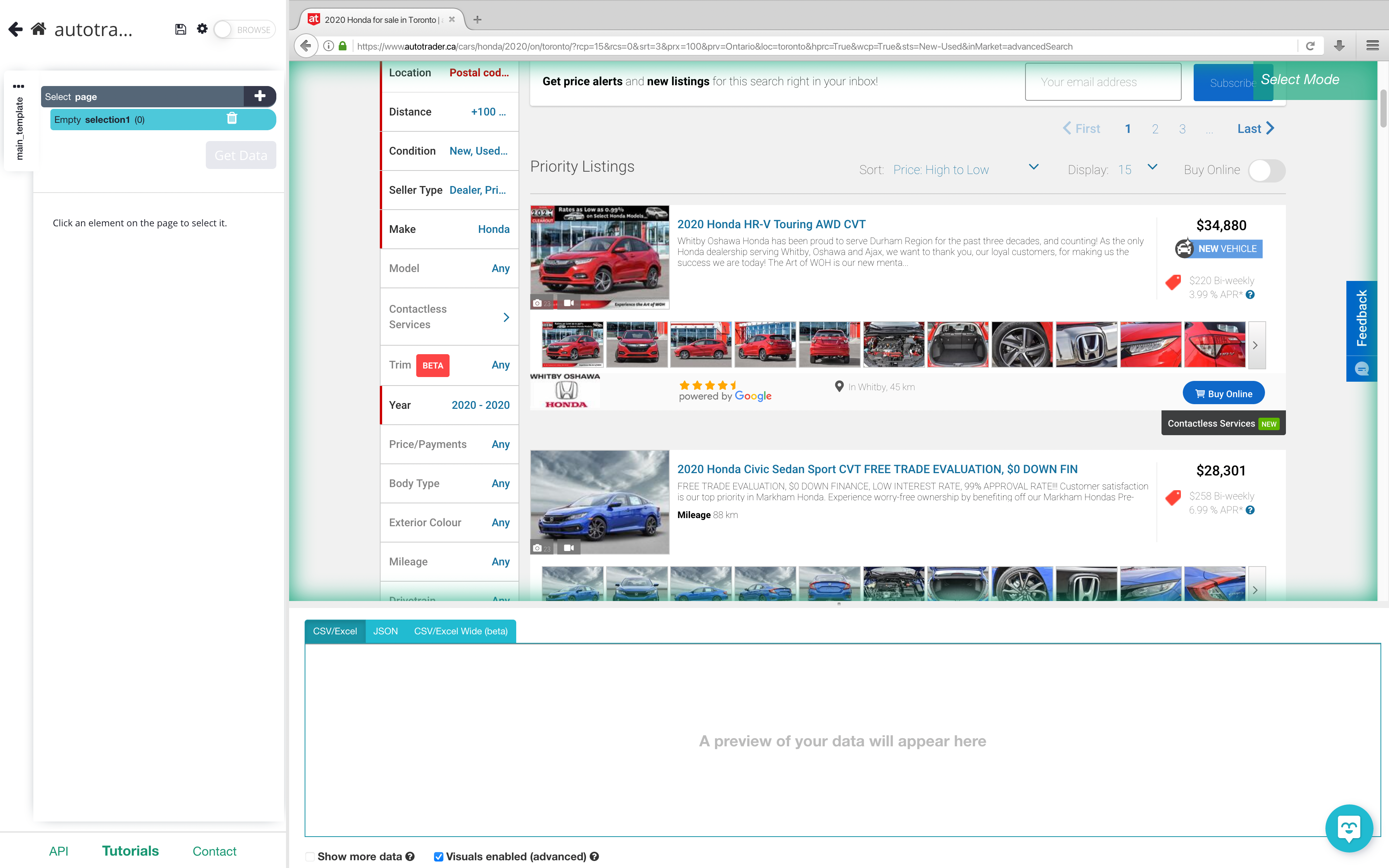 Autotrader rendered inside of the data extraction tool app