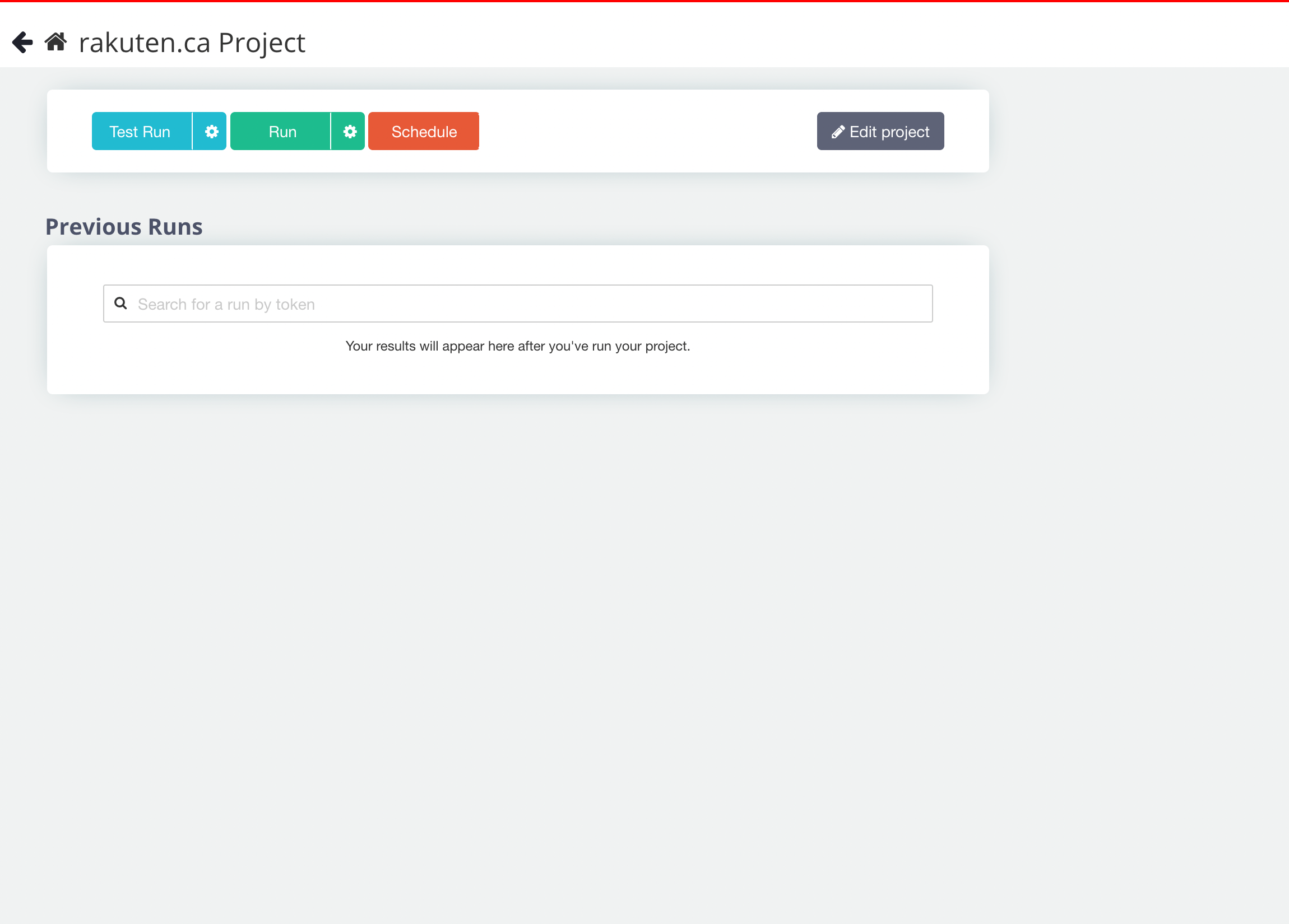 Run Project Page on ParseHub