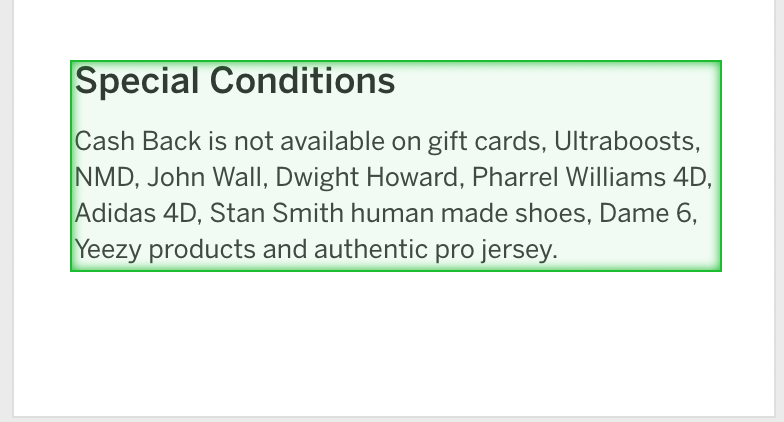 Special conditions from rakuten