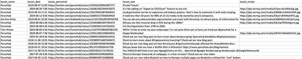 extracted twitter data into excel file